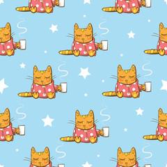 Vector seamless pattern with cartoon cats having tea. Evening tea time.
