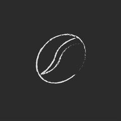 Coffee bean icon drawn in chalk.