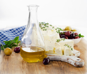 Feta cheese with olives, fresh herbs