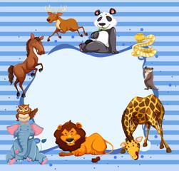 Wild animals around striped border