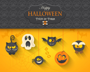Poster, banner or background for Halloween Party Night, vector illustration.