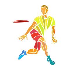 Sportsman throwing ultimate frisbee. Color vector illustration