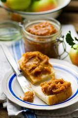 caramel apple butter on bread slices