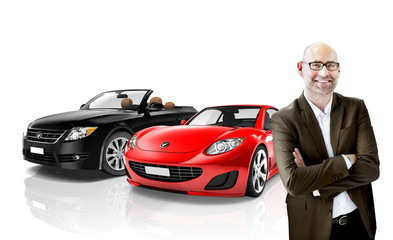 Foto op Canvas Snelle auto s Car Vehicle Transportation 3D Illustration Concept