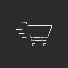 Shopping cart icon drawn in chalk.