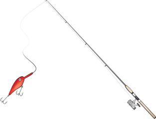 Fishing rod vector illustration
