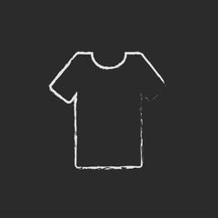 T-shirt icon drawn in chalk.