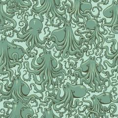 Vector octopus seamless pattern