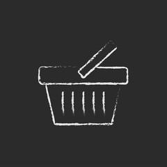 Shopping basket icon drawn in chalk.