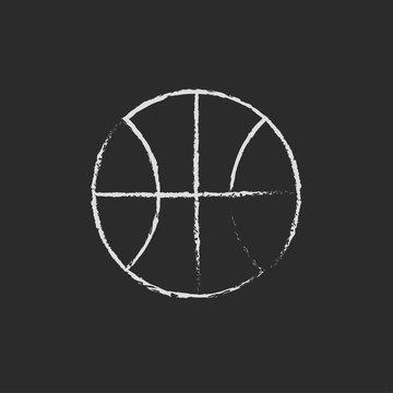 Basketball ball icon drawn in chalk.