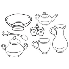 Set of kitchen appliance. Household utensils. hand drawn. Vector