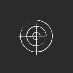 Shooting target icon drawn in chalk.