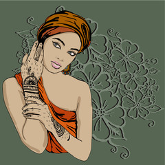 portrait of pretty indian etnic Girl in traditional turban, with henna tatoo mehendy on her hand. vector. copy spase.