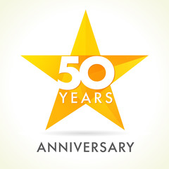 50 anniversary star logo. Template logo 50th anniversary in star shape
