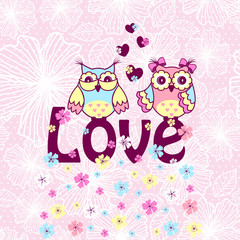 Beautiful card with owls in love on branch on a pink lace background