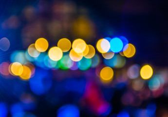 imaeg of blurred bokeh background with warm colorful lights (blu