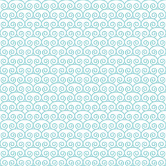 Seamless Retro Pattern Abstract Curls Turquoise