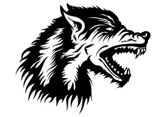 Wolf head emblem. Illustration a roaring wolf head emblem for a team or a logo