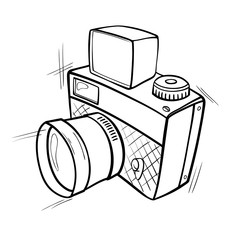 Cartoon black and white sketch of a photo camera. Vector graphics.