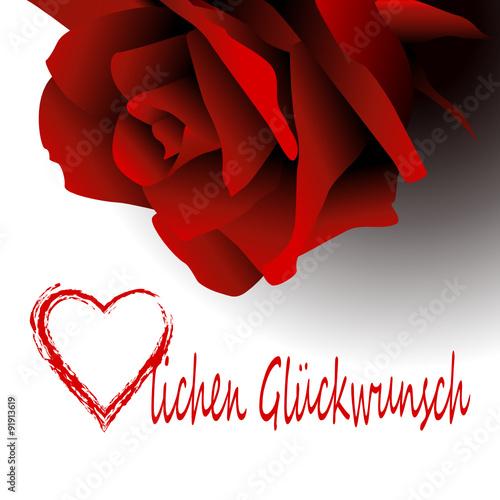 Rose Rot Rote Herz Herzlich Herzlichen Gluckwunsch Geburtstag Liebe