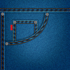 jeans blue texture with pocket denim background. stock vector illustration eps10