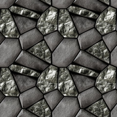 Abstract seamless pattern of black grained stones and black crystals