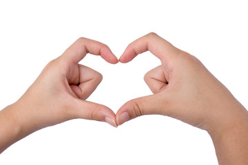 Love shape hand isolated On White Background