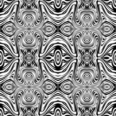Black and white seamless background with abstract waves