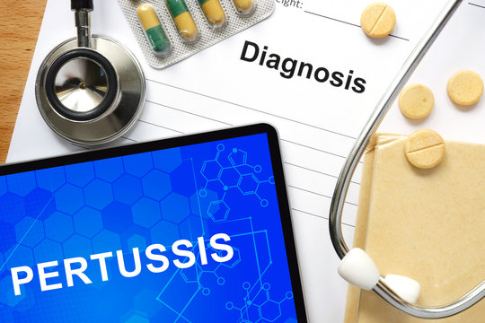 Word  Pertussis. Medical concept.