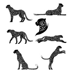 Set of graphic cheetahs