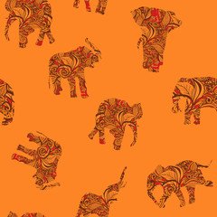 Seamless texture with elephants in Indian style Vector endless