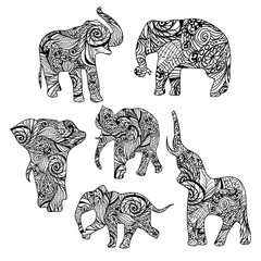 Set of black and white hand drawn isolated ethnic elephants.