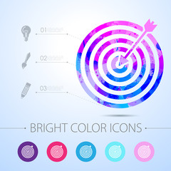 Vector target with dart icon. with infographic elements
