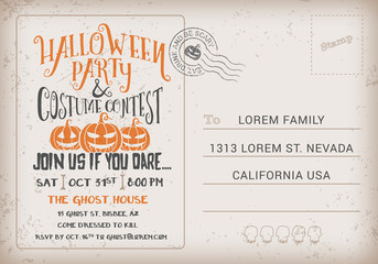 Halloween Party and Costume Contest Invitation Template.
