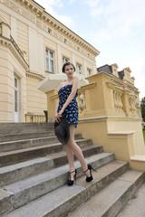 cute elegant model in outdoor shoot