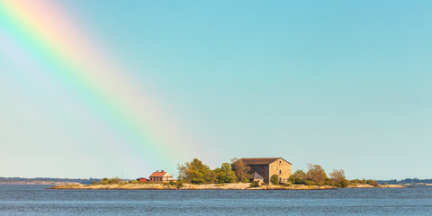 Panoramic view of a small Swedish island in Karlskrona