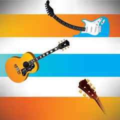 A handsome set of three vector guitar banners