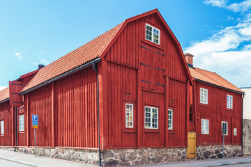 Ancient red wooden house in Karlskrona, Sweden