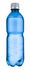 blank blue plastic bottle isolated