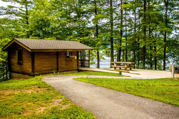 Log cabin surrounded by the forest at lake santeetlah north caro