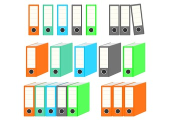 Colorful binders. Simple vector icon on white background.