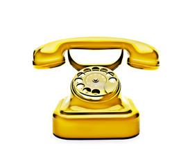 Goldenes Wählscheibentelefon