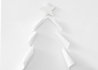 handmade Christmas tree, cut from the paper, concept