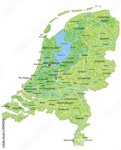 High detailed Netherlands physical map with labeling Stock image