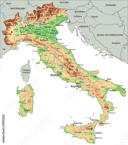 High Detailed Italy Physical Map With Labeling Stock Image And - World physical map labeled