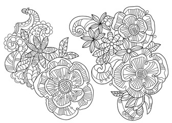 Abstract floral pattern doodle.