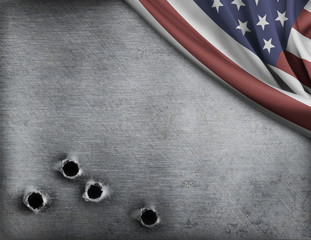 Wall Mural - metal background with bullet holes and USA flag