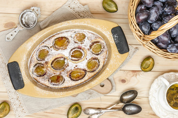 Clafoutis (flonyard) with hazelnuts and plums from Gordon Ramsay