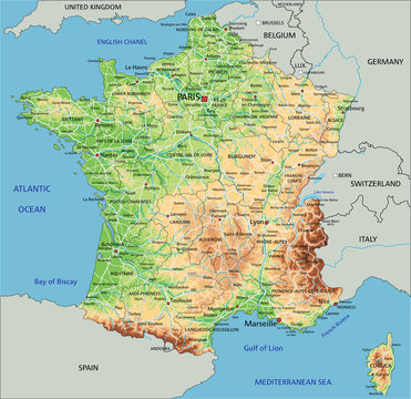 High detailed France physical map with labeling.