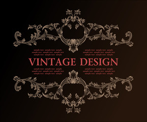 Vector vintage royal retro frame ornament decor